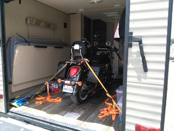 Motorcycle loaded in Toy Hauler